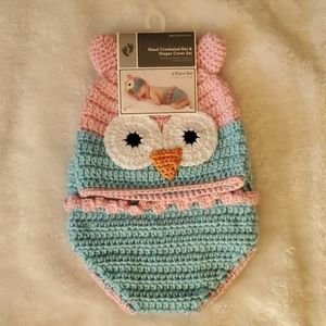 Other - Handmade Hat & Diaper Cover 0-9m